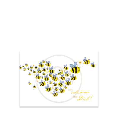 Bienenpostkarte Schwarm